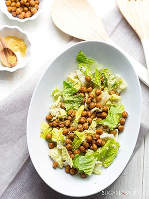 Roasted Chickpea Caesar Salad | SugarLoveSpices