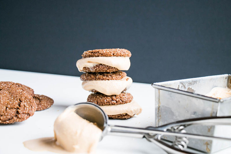 Ginger Molasses Cookies and Brown Sugar Bourbon Ice Cream Sandwiches