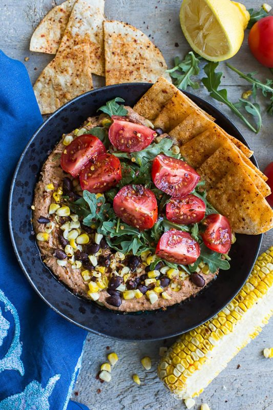 Roasted Red Pepper and Black Bean Hummus Bowls | Crumb Top Baking