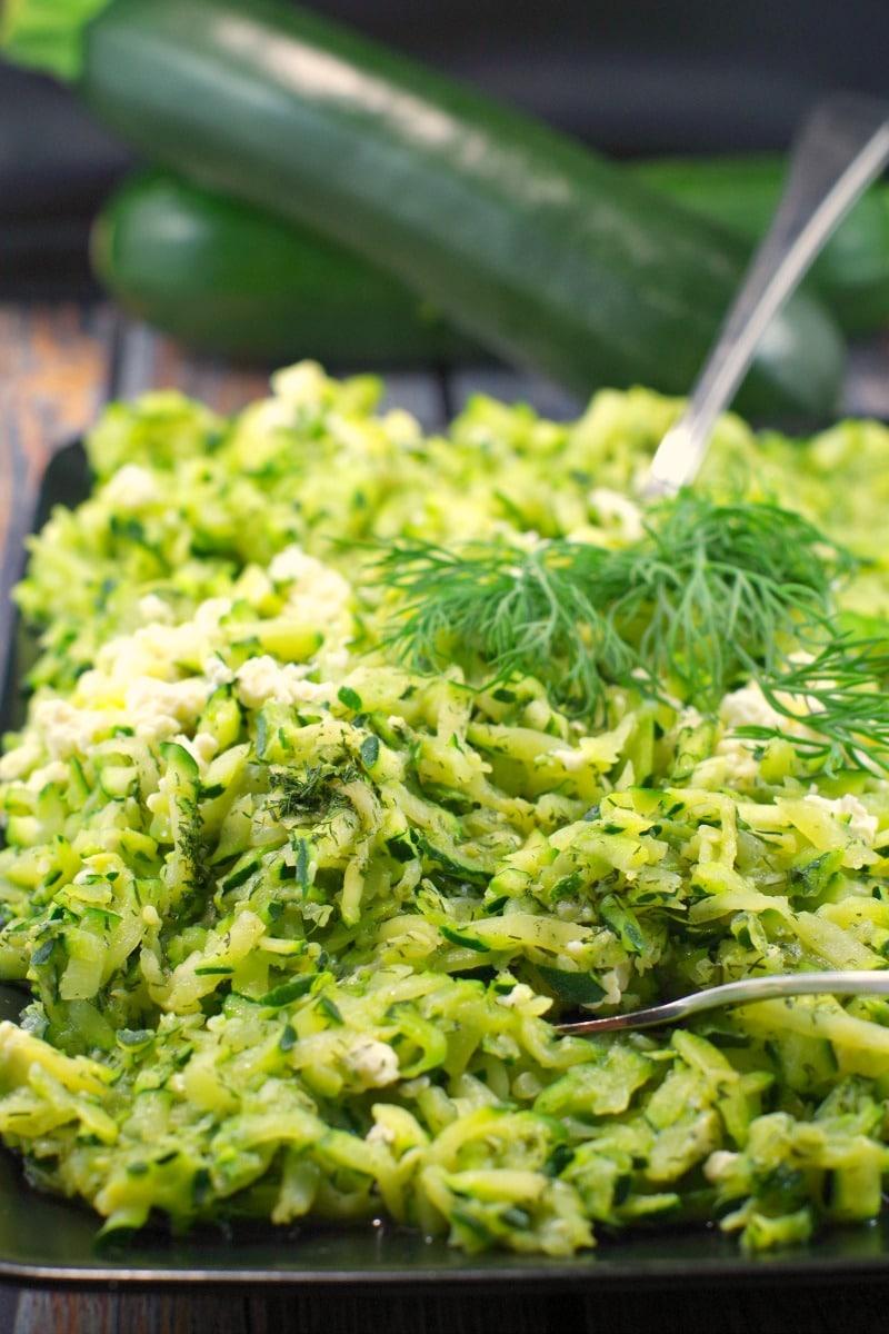Shredded Zucchini Feta Saute