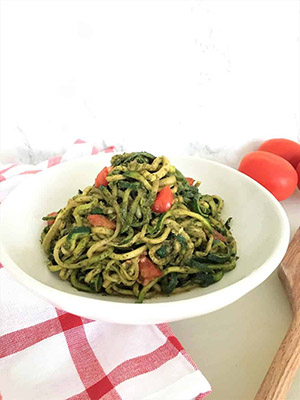 Pesto Zucchini Noodles | This Healthy Kitchen
