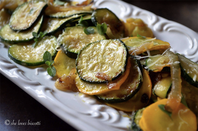 Italian Sauteed Onion and Zucchini Rounds