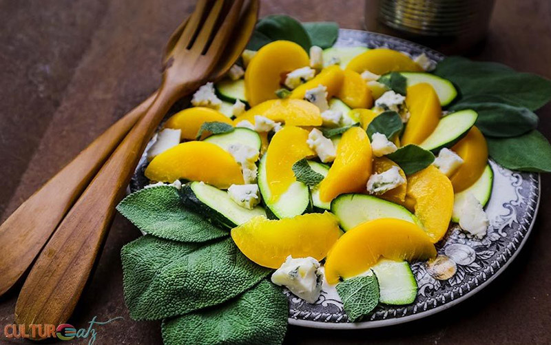 Peach-Zucchini-Salad-with-Sage-Blue-Cheese and a Citrus Espresso Vinaigrette