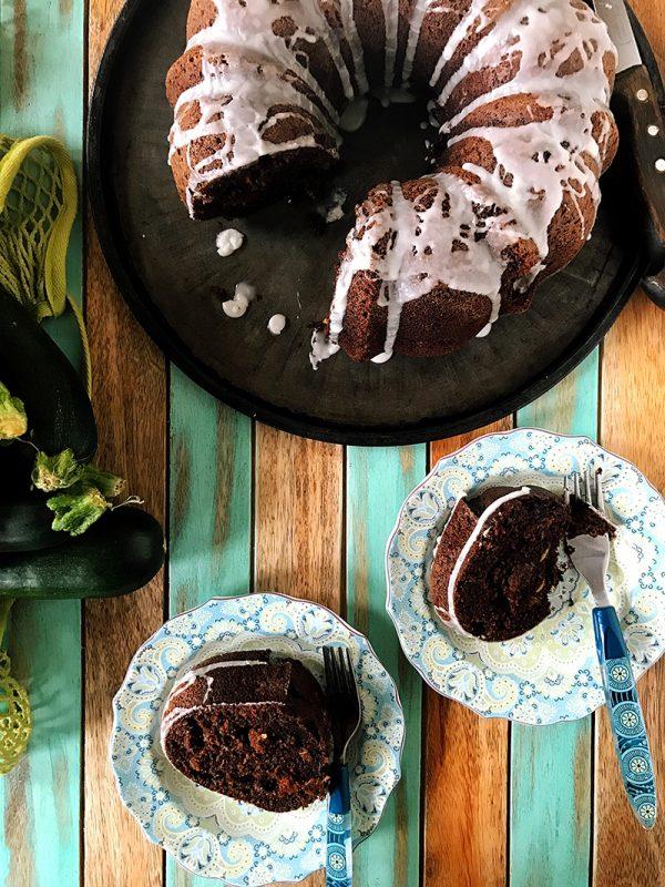 Chocolate Zucchini Raisin Bundt Cake