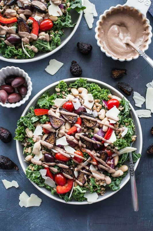 Tuscan Salad with Farro and Fig Tahini Dressing | Crumb Top Baking