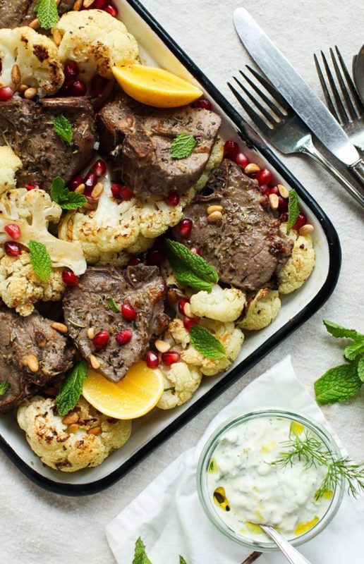 Shet Pan Zesty Lamb Chops with Cauliflower | Simple Bites