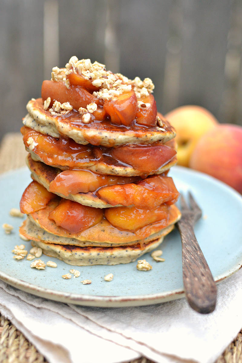 Peach Compote Poppyseed Millet Pancakes