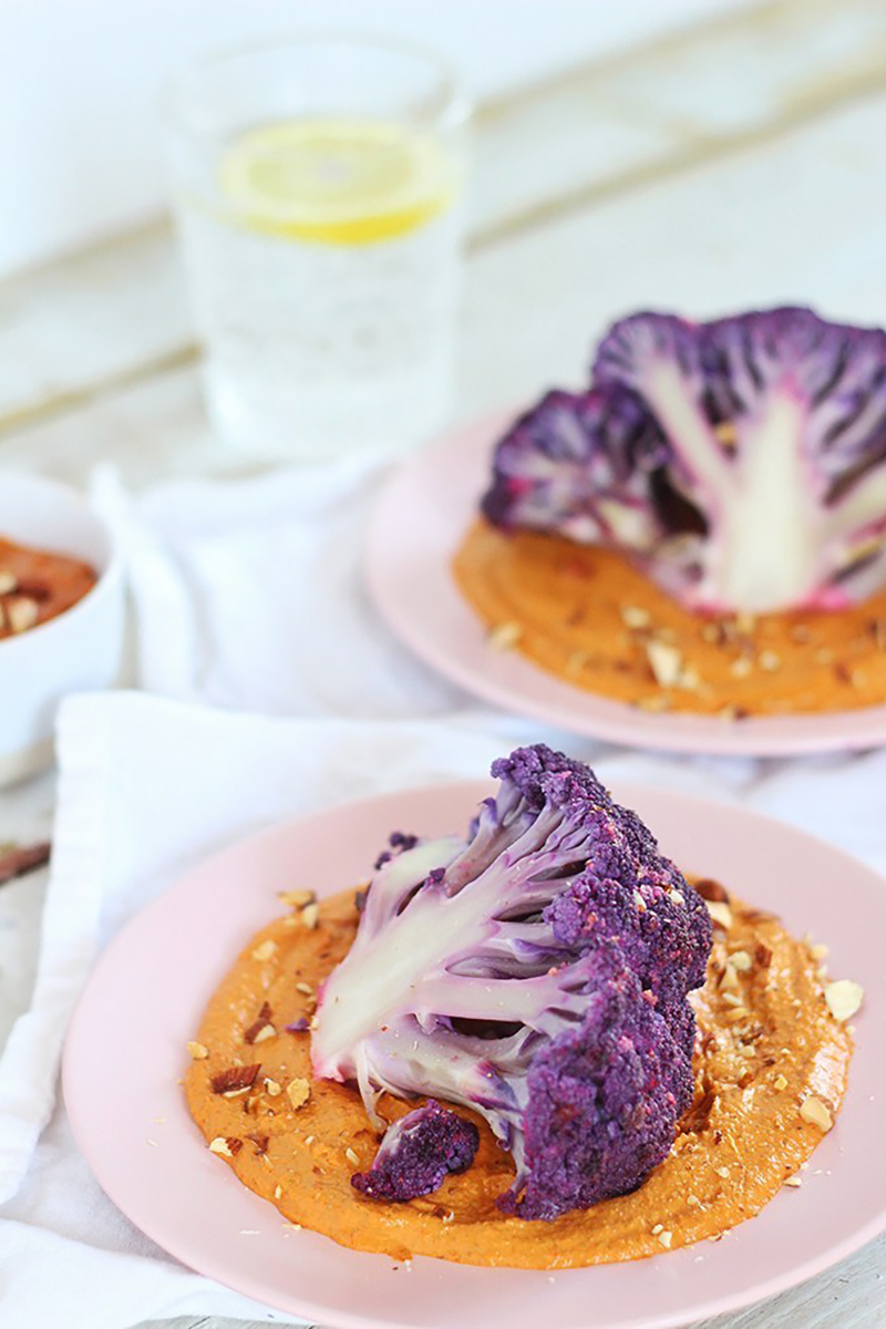 Roasted Purple Cauliflower with Red Pepper Romesco | Justine Celina
