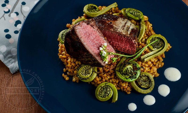 Beef Tenderloin with Einkorn and Fiddleheads | Diversivore
