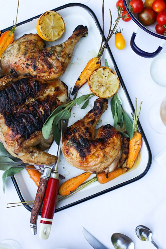 Sage Scented Barbecued Chicken with Grilled Lemon | Simple Bites