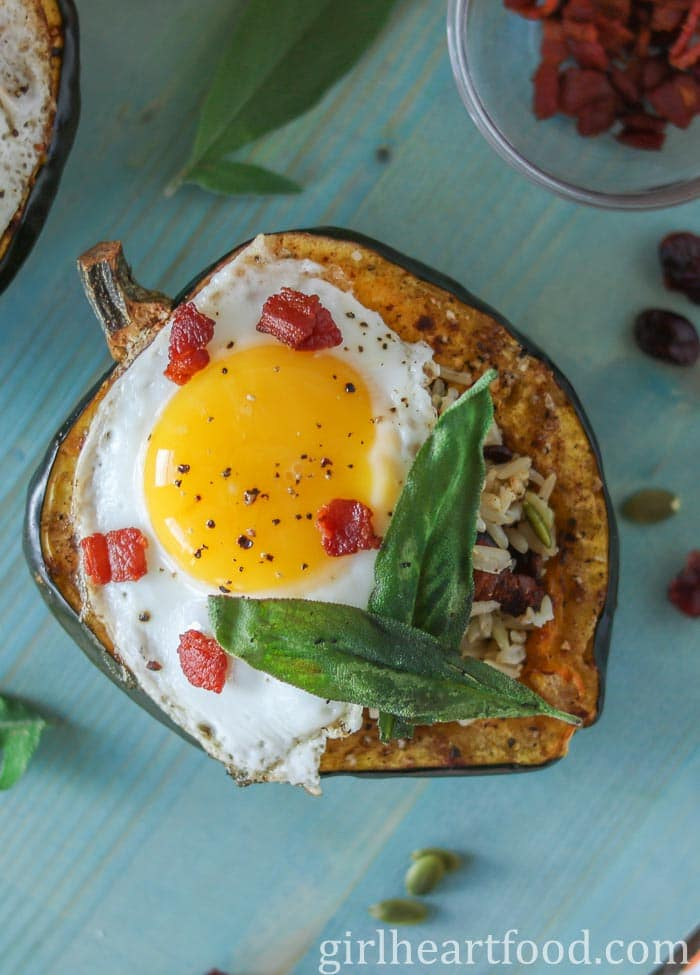 Egg Stuffed Roasted Acorn Squash | Girl Heart Food