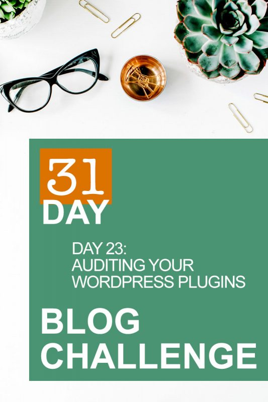 31 Day Blog Challenge Day 23: Auditing Your WordPress Plugins