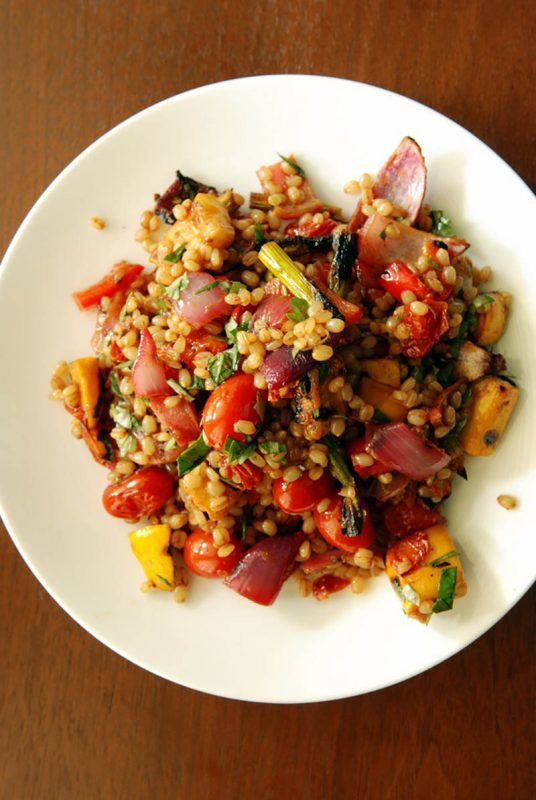 Wheat Berry Salad with Pomegranate Roasted Vegetables