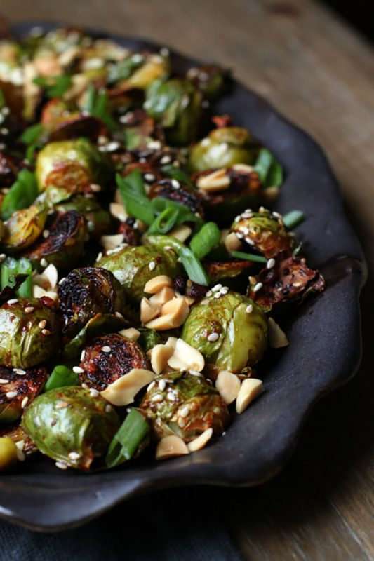 Maple Gochujang Roasted Brussels Sprouts | Dish 'n' the Kitchen
