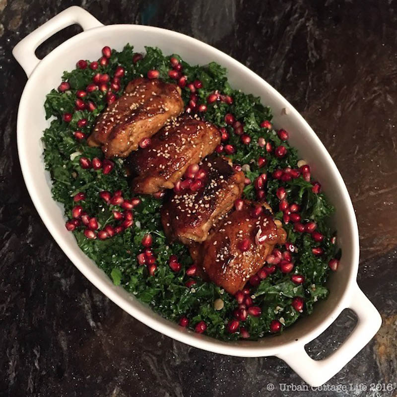 Pomegranate Chicken Thighs and Kale and Grain Salad