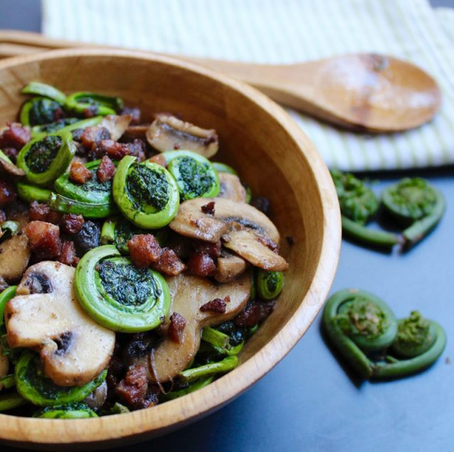 Fiddleheads with Mushrooms and Pancetta | Sneaky Mommies
