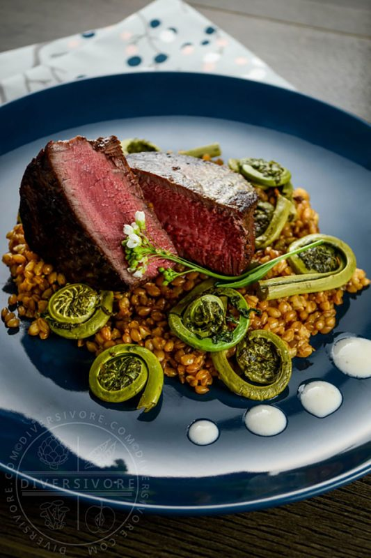 Beef Tenderloin with Einkorn and Fiddleheads | Diversivore