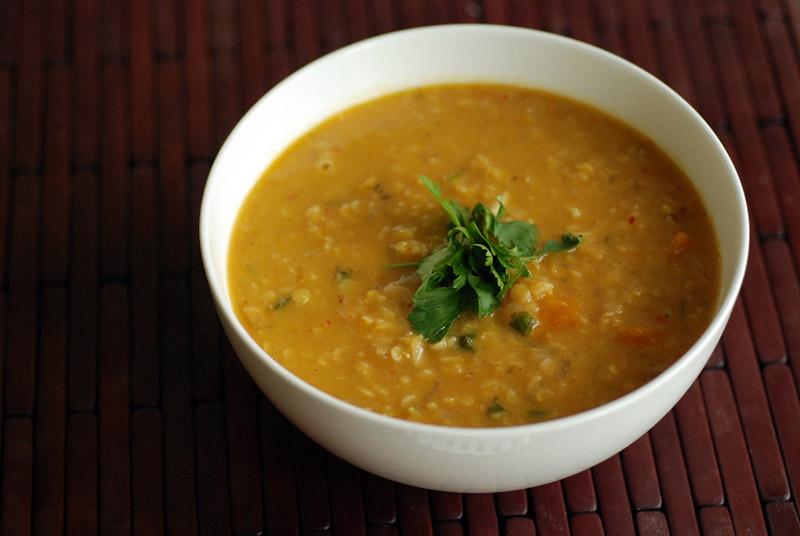 Kabocha Squash, Coconut and Lentil Soup