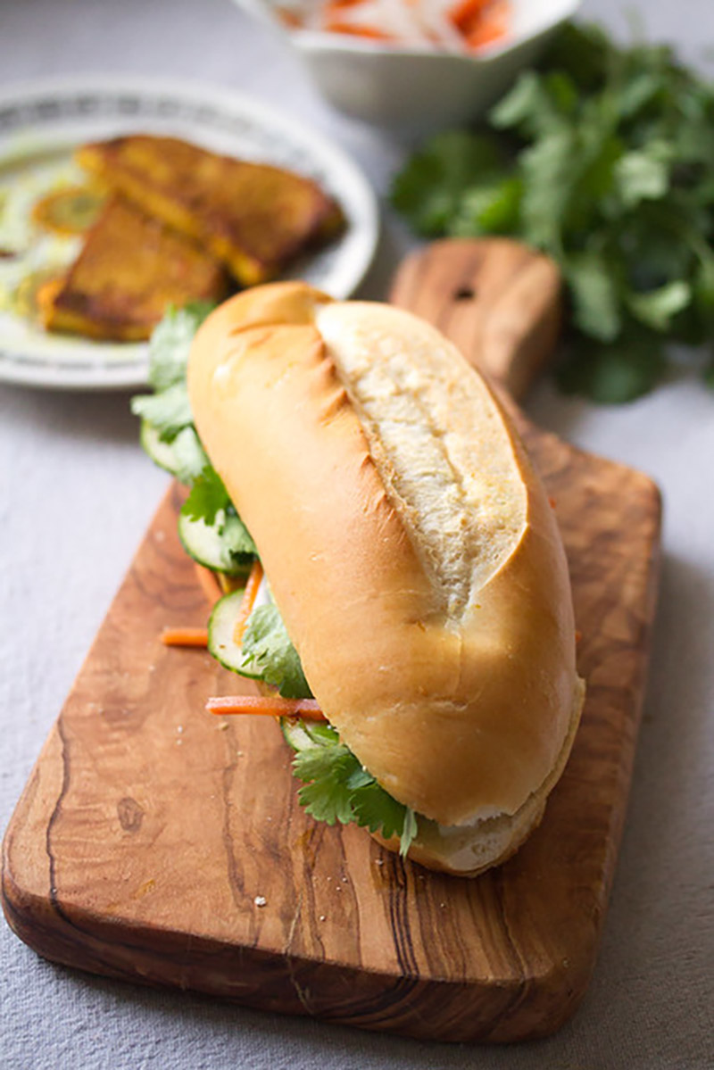 Lemongrass Tofu Banh Mi Sandwich