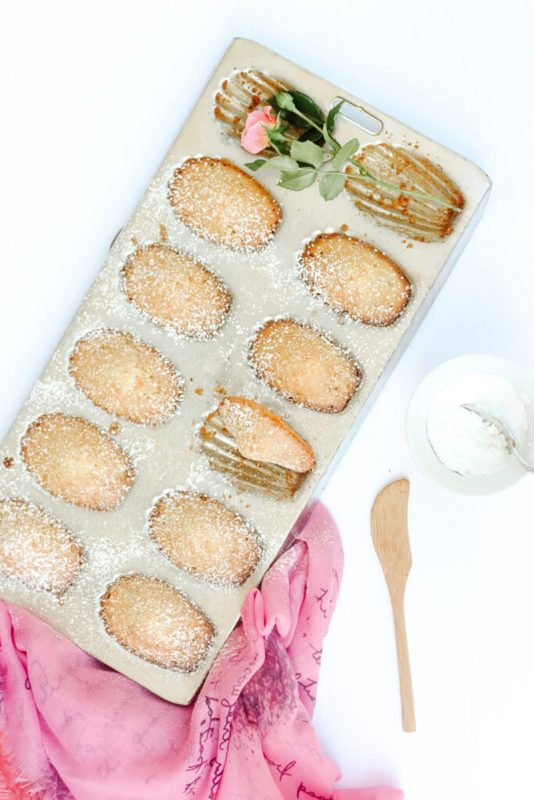A baking tray of Rosewater French Madeleines