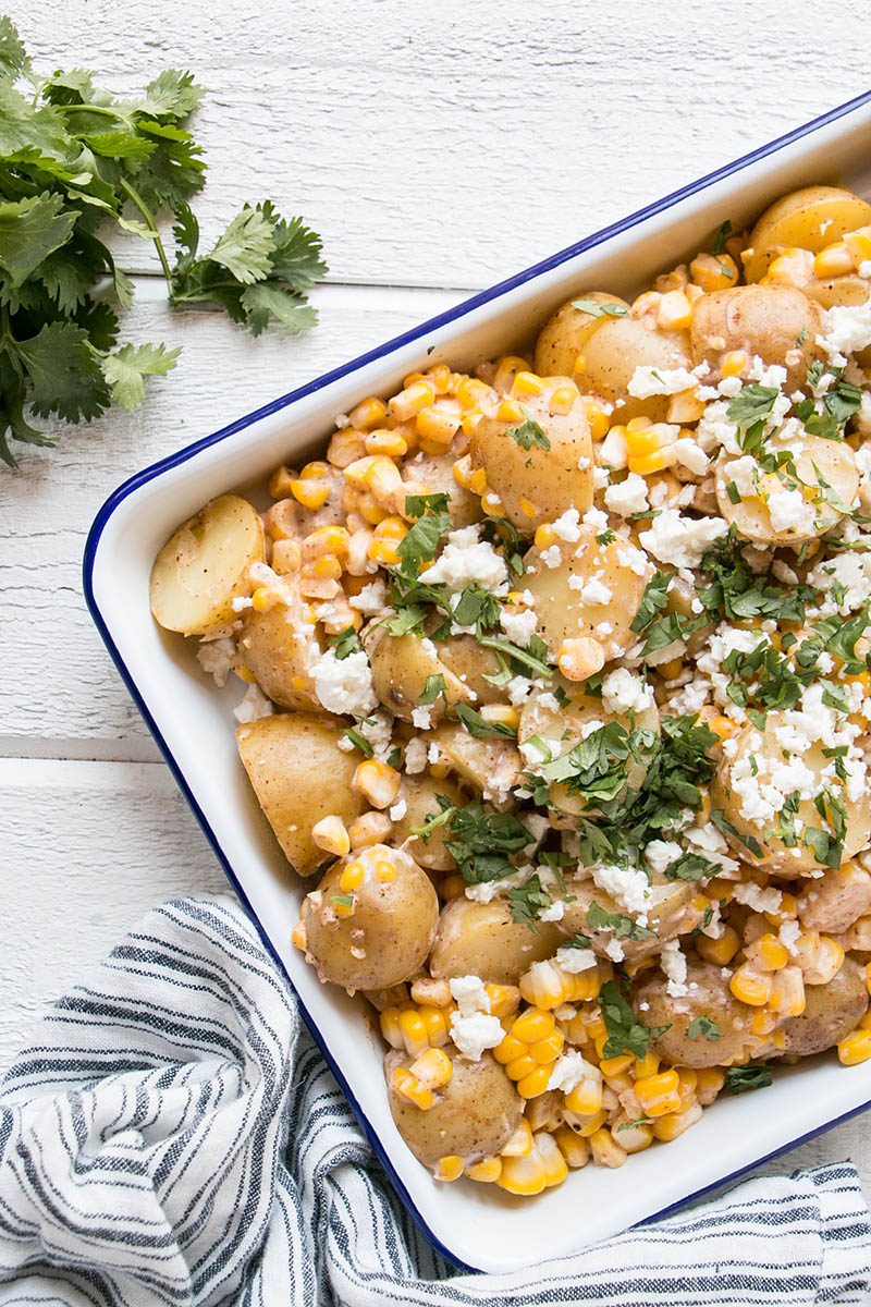 Mexican Street Corn Potato Salad ready for serving