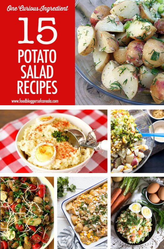 collage of potato salad dishes