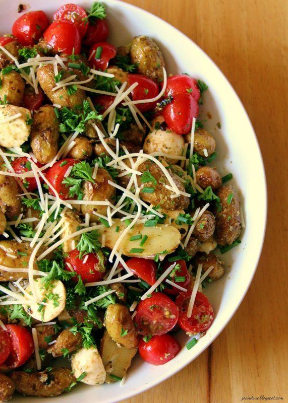 Roasted pesto potato salad with tomatoes