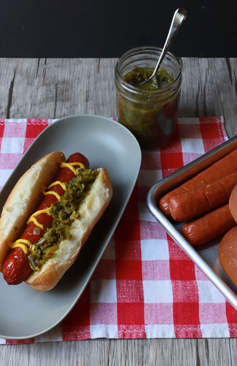 Hotdogs with Dill and Garlic Scape Relish | Dish 'n' the Kitchen