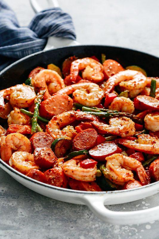 Shrimp and Sausage Vegetable Skillet
