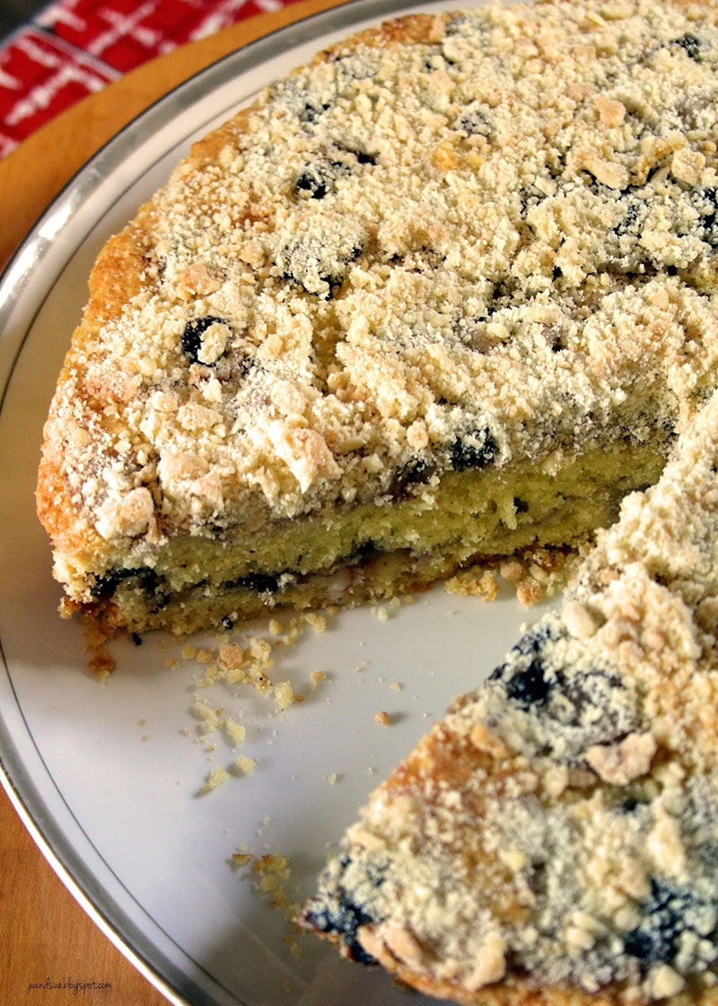 Pear and mincemeat crumble cake on a plate