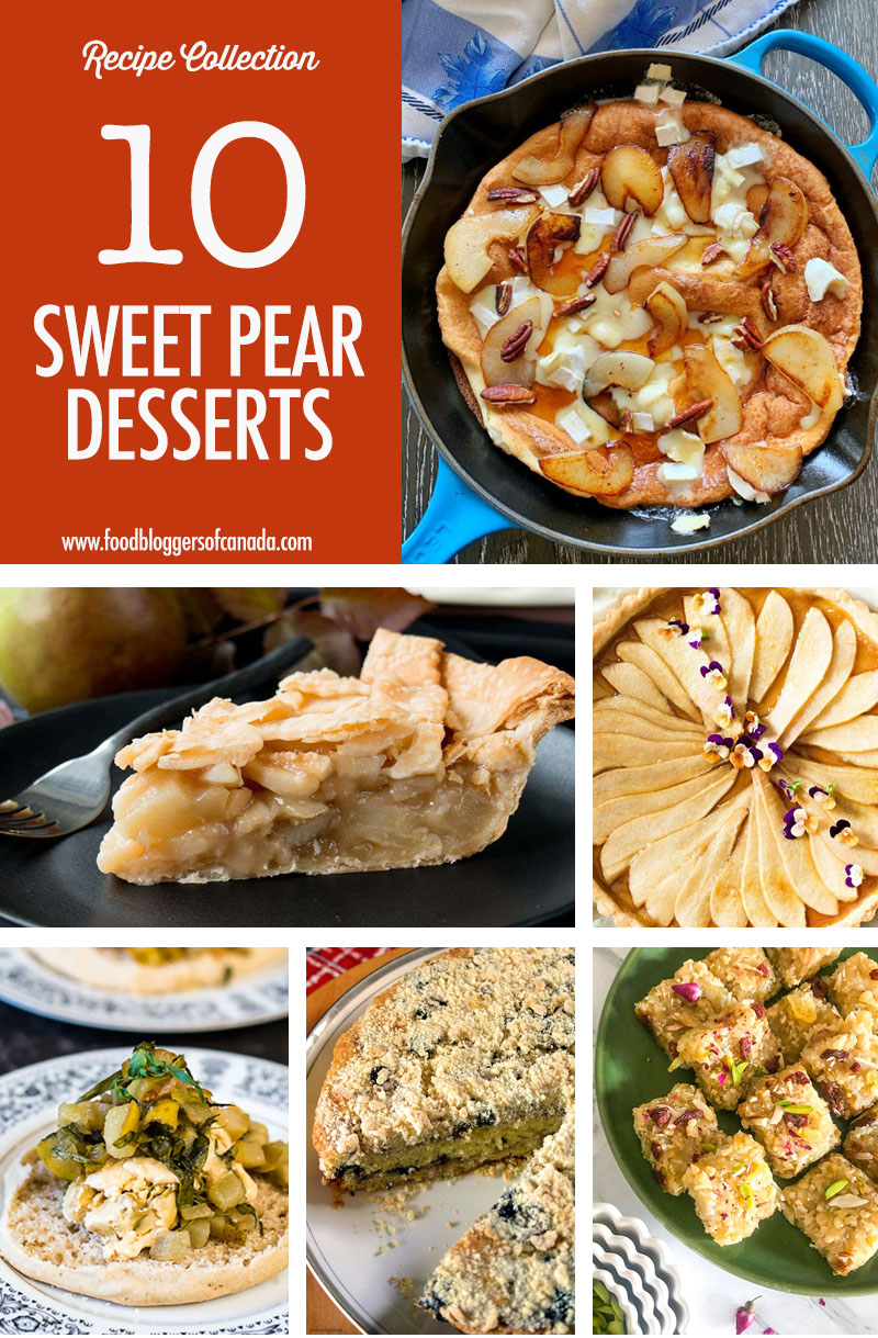 Collage of 6 pear dessert ideas