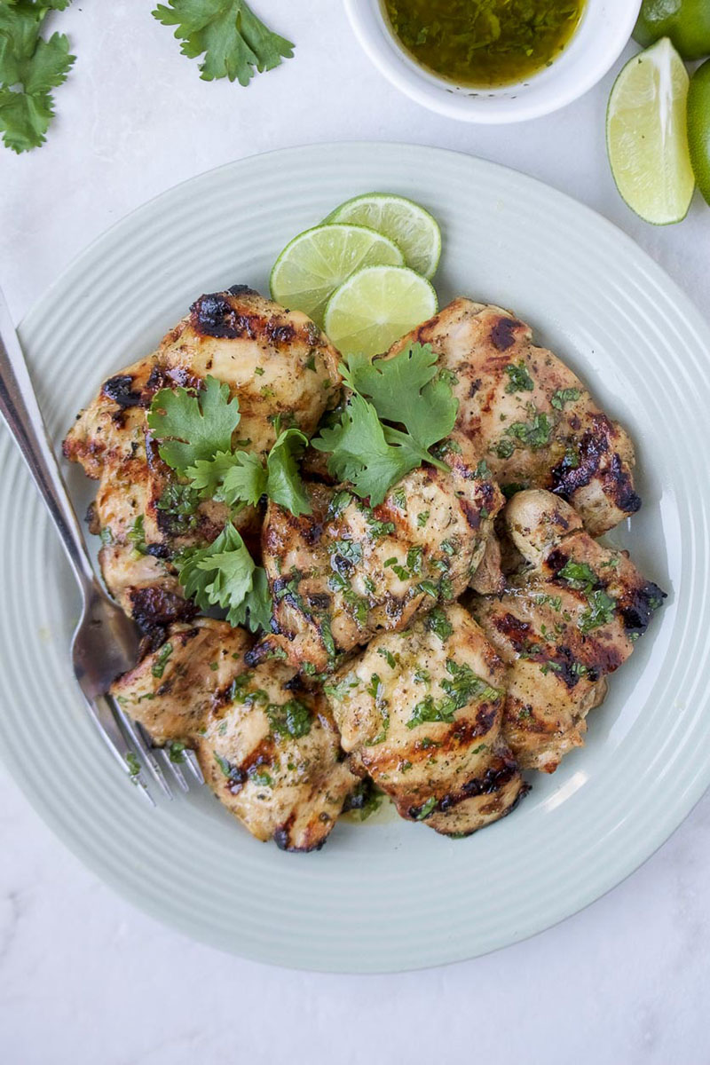 A platter of grilled cilantro lime chicken