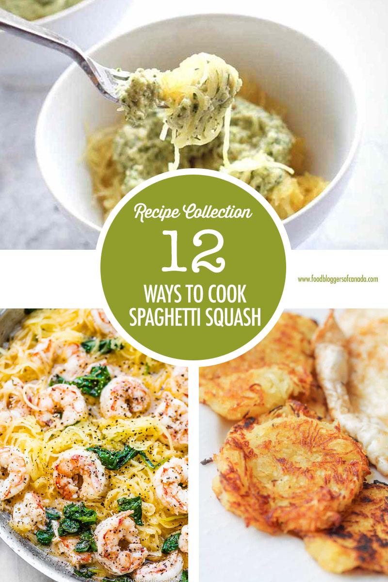 Collage of three spaghetti squash dishes