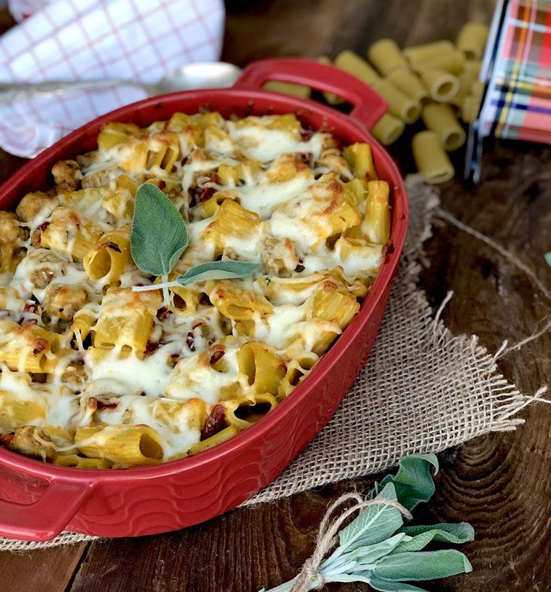 Casserole dish of baked rigatoni.
