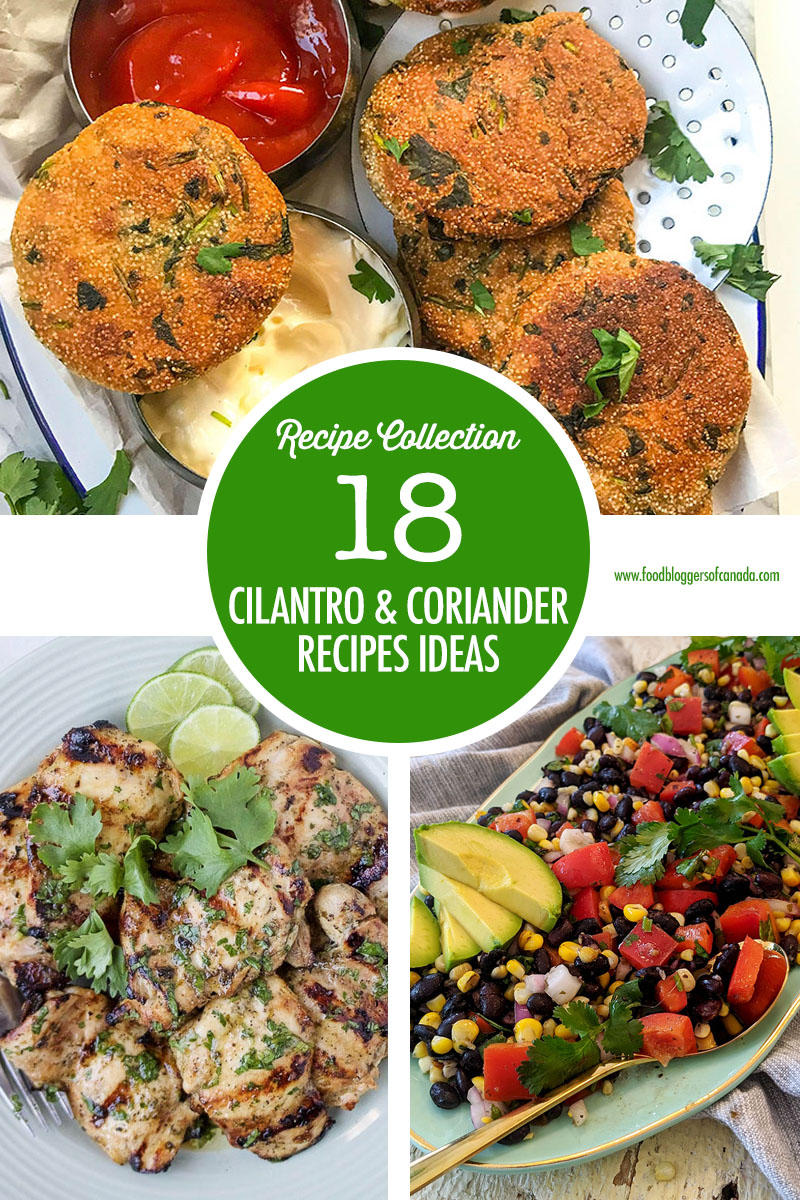 Collage of recipes using cilantro