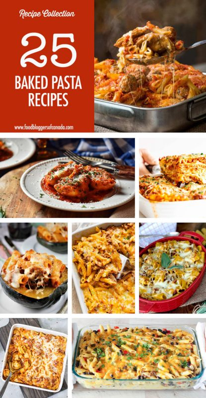 Collage of 8 baked pasta dishes
