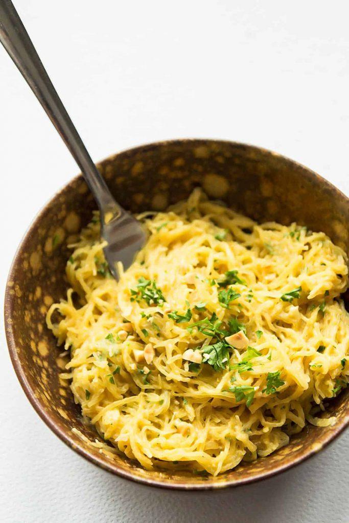 Spaghetti squash noodles in a bowl