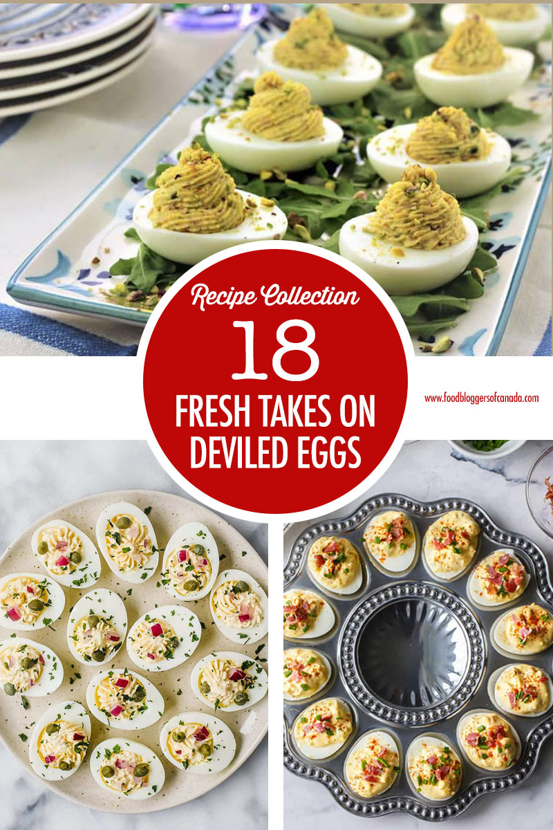Collage of 3 deviled egg dishes