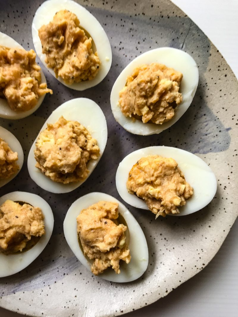 A plate of French dressing deviled eggs