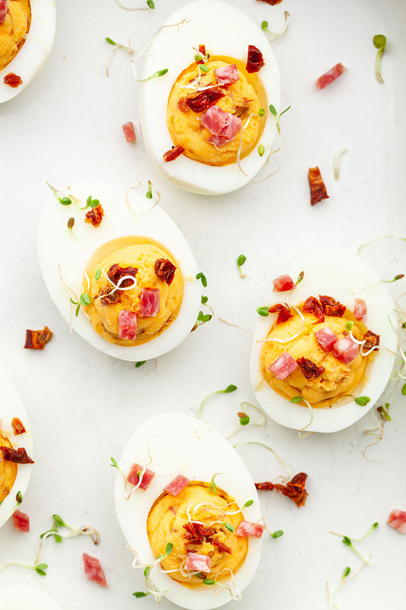 A top down photo of sriracha deviled eggs