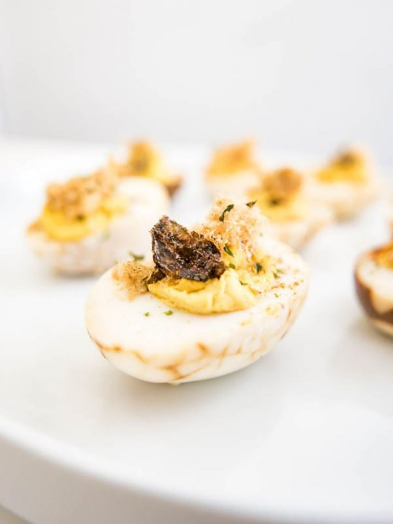 a chinese tea leaf deviled egg