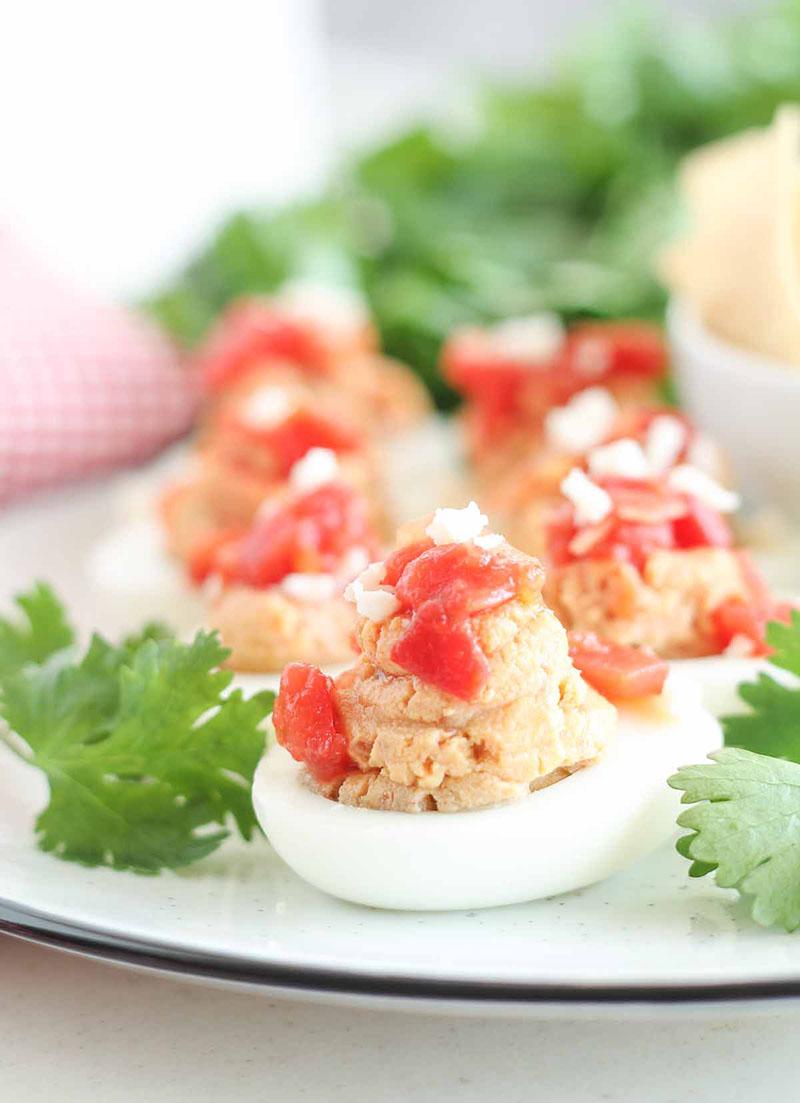 A plate of Huevos Rancheros Deviled Eggs